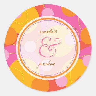 Pink Orange Bubbly Mod Dots Summer Wedding Sticker