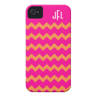 Pink & Orange Chevron Monogrammed iPhone 4/4s Case-Mate iPhone 4 Cases