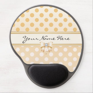 Pink, Orange & Cream Polka Dots with Diamond Bow Gel Mouse Pad