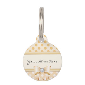 Pink, Orange & Cream Polka Dots with Diamond Bow Pet Tag