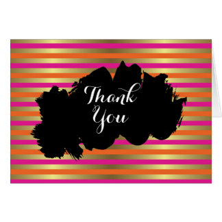 Pink, Orange & Faux Metallic Gold Stripe Thank You Card