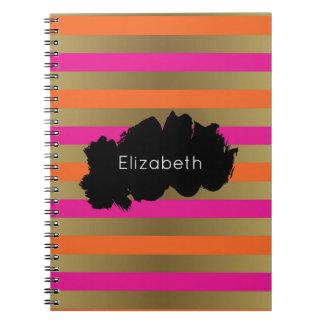 Pink, Orange & Faux Metallic Gold Stripes Custom Notebook