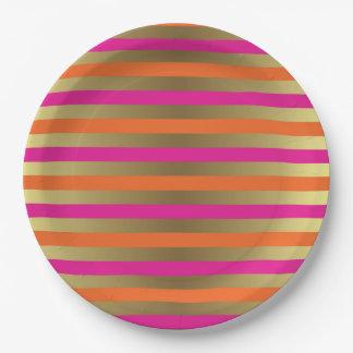Pink, Orange & Faux Metallic Gold Stripes Paper Plate