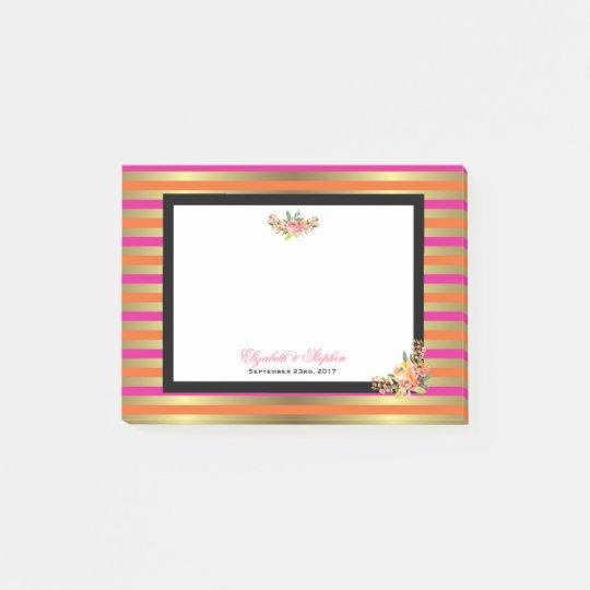 Pink, Orange & Faux Metallic Stripes w/ Florals Post-it® Notes