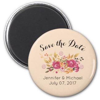 Pink & Orange Floral Bouquet Save The Date Wedding Magnet