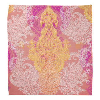 Pink orange  floral paisley damask bandana