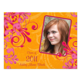 Pink Orange Floral Photo Graduation Invitation