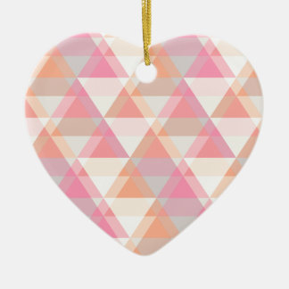 Pink Orange Geometric - Arrow Triangle Pattern Ceramic Heart Ornament