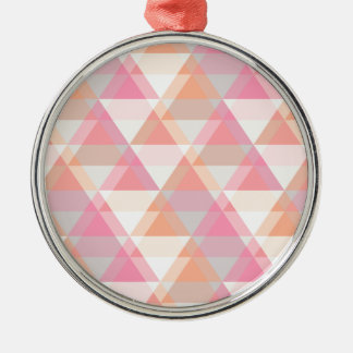Pink Orange Geometric - Arrow Triangle Pattern Silver-Colored Round Ornament