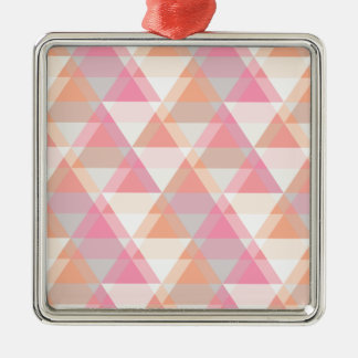 Pink Orange Geometric - Arrow Triangle Pattern Silver-Colored Square Ornament