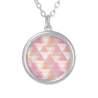 Pink Orange Geometric - Arrow Triangle Pattern Silver Plated Necklace