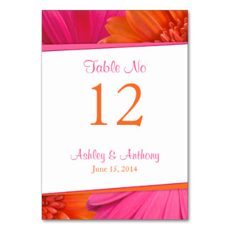 Pink Orange Gerbera Daisy Flower Wedding Card