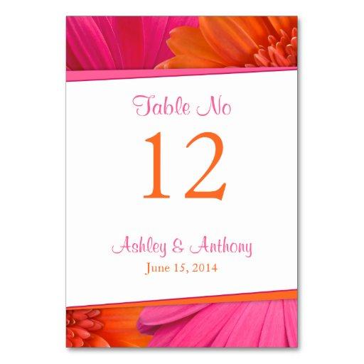 Pink Orange Gerbera Daisy Flower Wedding Table Cards