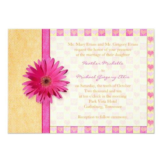 Hot Pink Gerbera Daisy White Wedding Invitation 5 X 7: Pink Orange Gerbera Daisy Wedding Invitation