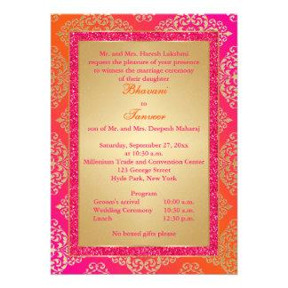 Pink Orange Gold FAUX Glitter Wedding Invite