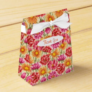 Pink, Orange, Gold Flowers Tent Favor Box
