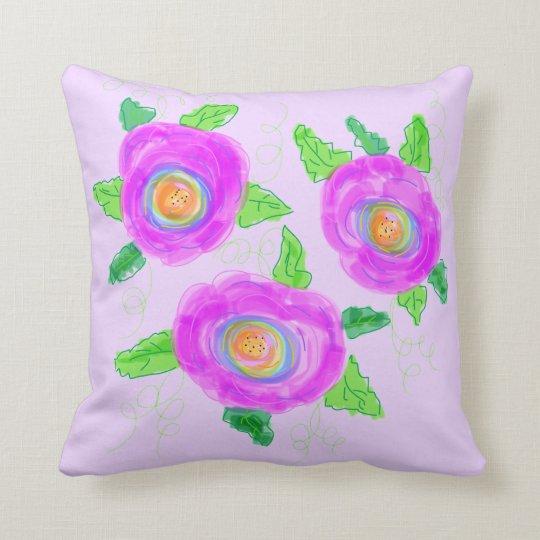 Pink Orange Green And Mauve Throw Pillow