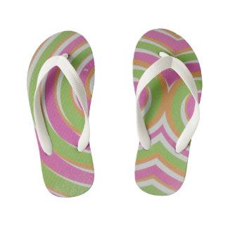 pink/orange/green swirl pattern kid's flip flops