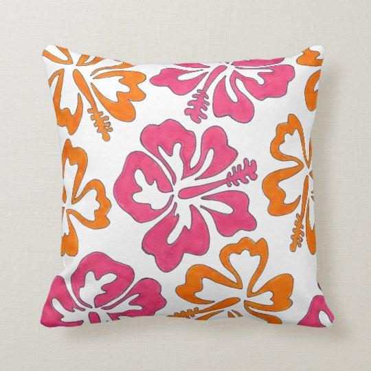 Pink Orange Hibiscus Flowers Floral Print Pillow