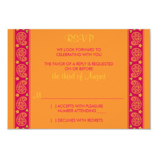 Pink Orange Paisley Floral Wedding Reply Card Personalized Invitation
