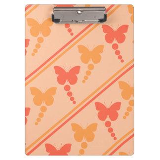 Pink Orange Peach Butterflies Dots Stripes Print Clipboard