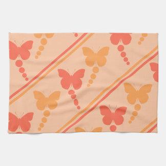 Pink Orange Peach Butterflies Dots Stripes Print Kitchen Towel