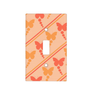 Pink Orange Peach Butterflies Dots Stripes Print Light Switch Cover