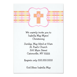 Pink Orange Plaid Baptism Invitation