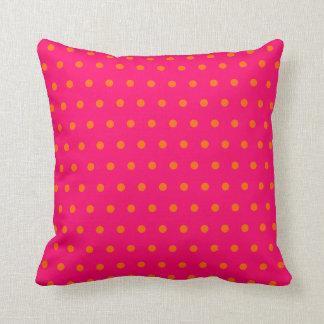 Pink Orange Polka Dot Pattern Throw Pillow