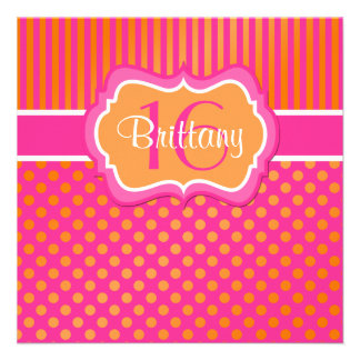 Pink Orange Polka Dots Sixteenth Birthday Invite