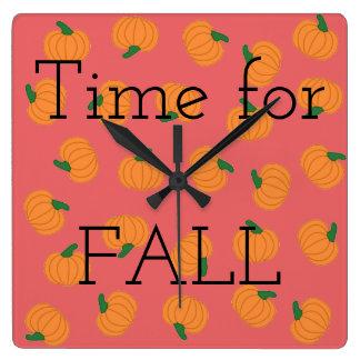 Pink orange pumpkins wall clock