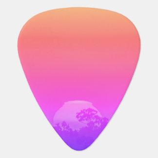Pink Orange Rainbow Sunset with Tree Guitar Pick
