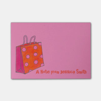 Pink Orange Shopping Bag Shop Fashionista Post Its Post-it® Notes