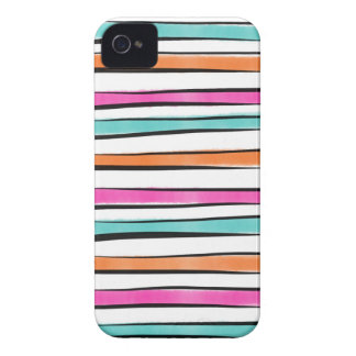 Pink Orange Teal Watercolor Stripes and Sketch iPhone 4 Cases