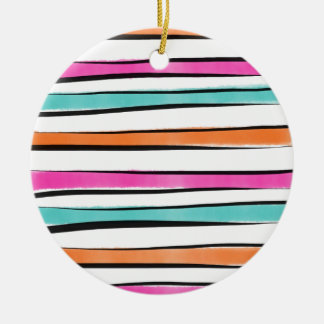 Pink Orange Teal Watercolor Stripes and Sketch Round Ceramic Ornament