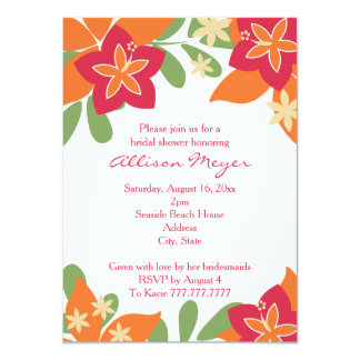 "Pink Orange Tropical Hibiscus Flower Bridal Shower 4.5"" X 6.25"" Invitation Card"