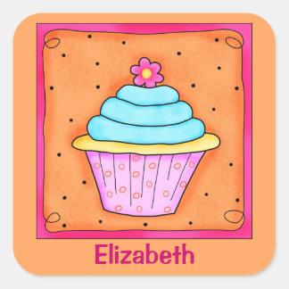 Pink Orange Turquoise Flower Cupcake Name Square Sticker