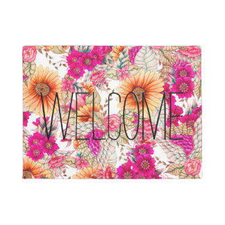 Pink orange vintage floral watercolor pattern doormat