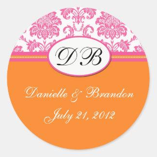 Pink Orange Wedding Monogram Damask Seal