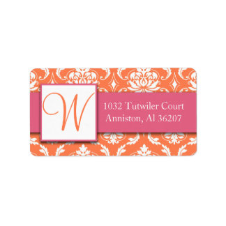 Pink Orange White Damask Initial Address Labels