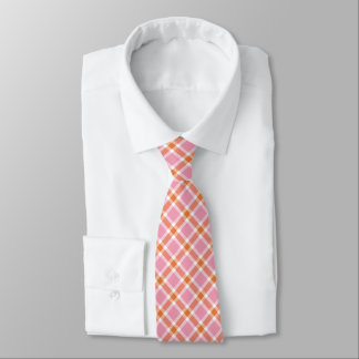 Pink, Orange & White Plaid Men's Tie
