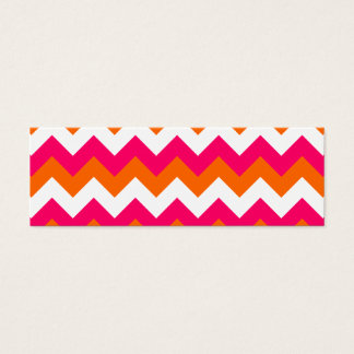 Pink Orange White Zigzag Mini Business Card
