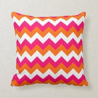 Pink Orange White Zigzag Throw Pillow