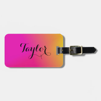 Pink Orange Yellow Ombre Luggage Tag