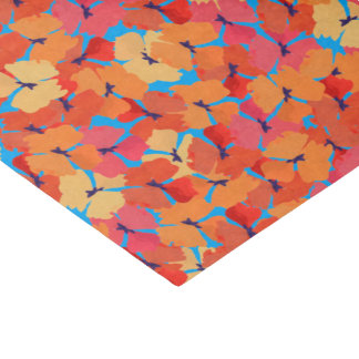 Pink Orange Yellow Poppies Floral Pattern on Blue Tissue Paper