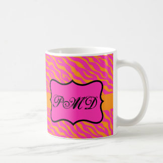 Pink & Orange Zebra Skin Monogram Initial Coffee Mug