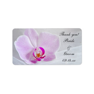 Pink Orchid and Veil Wedding Thank You Favor Tags