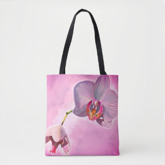 Pink Orchid design tote bags