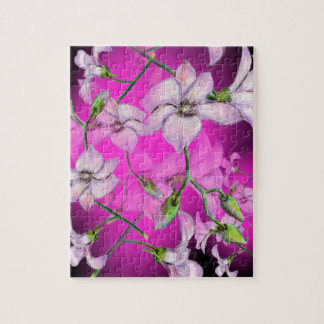 Pink Orchid Flower Print Puzzle