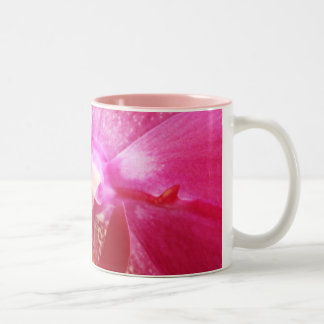 Pink Orchid Flower Two-Tone Coffee Mug